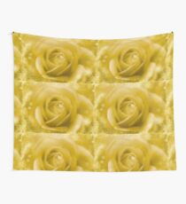 Golden Rose And White Snow Wall Tapestry