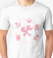 Stroller, twins, rattle, pacifier, bib, overalls. Slim Fit T-Shirt