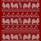 Ugly Christmas sweater dog edition - Tibetan spaniel red by Camilla Mikaela Häggblom