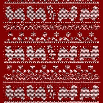 Ugly Christmas sweater dog edition - Tibetan spaniel red by CamillaHaggblom