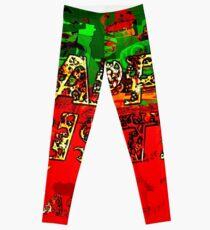 skulls red and green happy christmas  Leggings