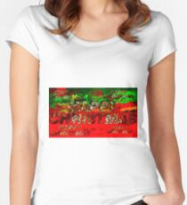 skulls red and green happy christmas  Women's Fitted Scoop T-Shirt