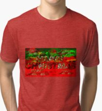 skulls red and green happy christmas  Tri-blend T-Shirt