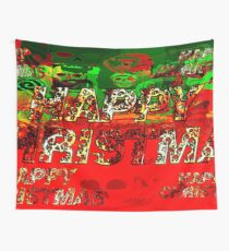 skulls red and green happy christmas  Wall Tapestry
