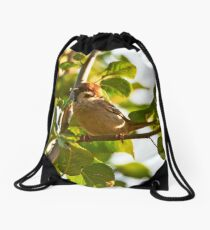 """Eurasian Tree Sparrow"" Drawstring Bag"