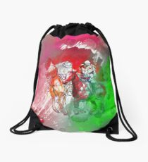 polo player red abstract Drawstring Bag