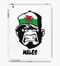 Wales Flag - Coat of Arms - Dragon - Great Britain - UK - Monkey Cartoon iPad-Hülle & Klebefolie