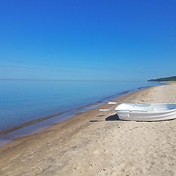 White Boat Lake Michigan by Mommylife