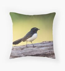Willie Wagtail Throw Pillow