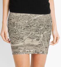 Vintage Pictorial Map of Milford CT (1882) Mini Skirt