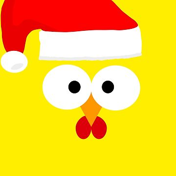 Baby Bird Chicken Chick Face Christmas Head Santa Clause Tea by Mmastert