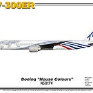 "Boeing B777-300ER - Boeing ""House Colours"" (Art Print) by TheArtofFlying"