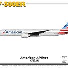 Boeing B777-300ER - American Airlines (Art Print) by TheArtofFlying