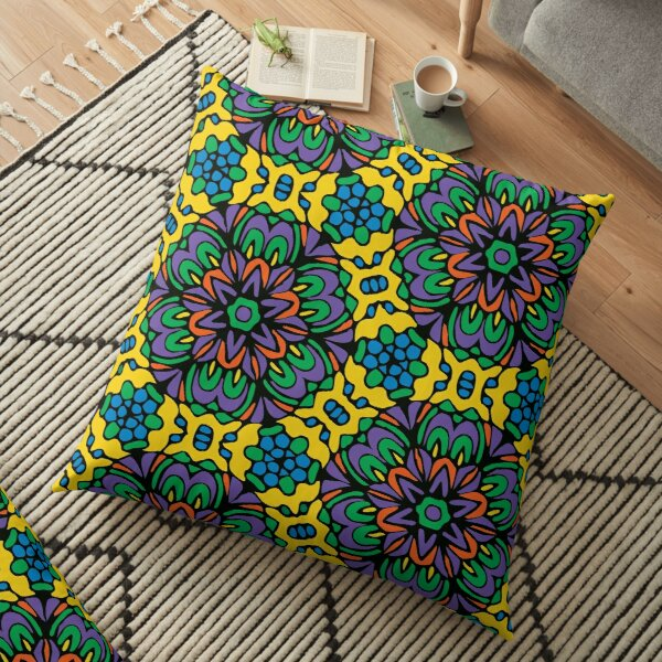 Bright Bold Retro Floral Garden Floor Pillow