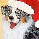 Christmas ~ Australian Shepherd ~ oil painting by Barbara Applegate