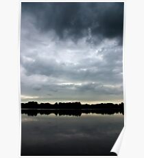 Dark clouds over the lake Poster