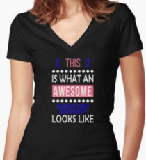 Marketing Manager Awesome Looks Funny Birthday Christmas  Women's Fitted V-Neck T-Shirt