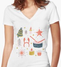 Christmas with Toys Women's Fitted V-Neck T-Shirt