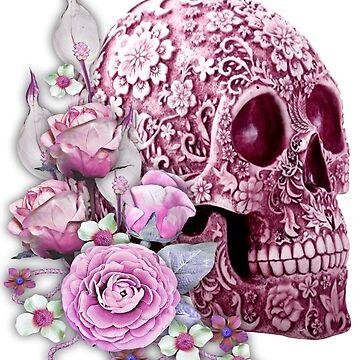 Pink Floral Pink Flowers Sugar Skull  by Atteestude