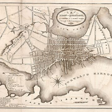 Vintage Map of Portland ME (1846) by BravuraMedia