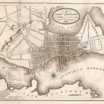 Vintage Map of Portland ME (1846) by BravuraMedia