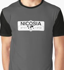 Nicosia Cyprus with World Map Coordinates GPS    Graphic T-Shirt