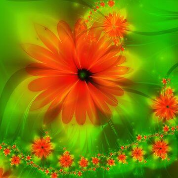 Red Fractal Flower by quartzmonzonite