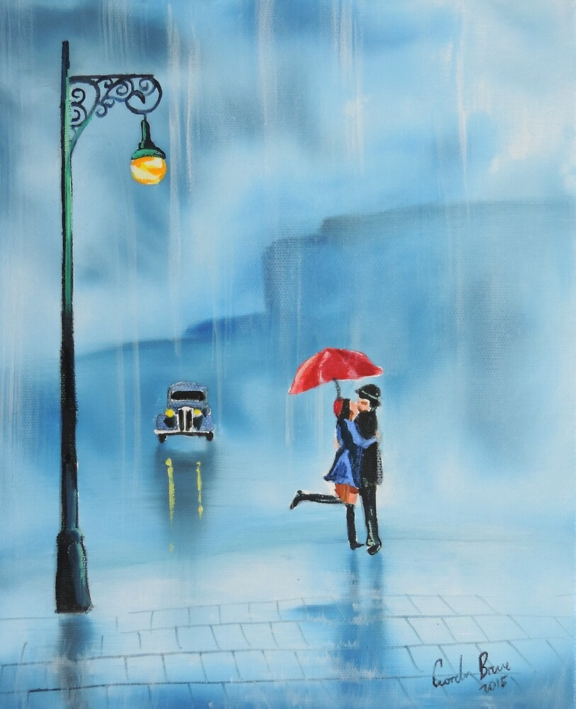 Rainy day couple with a red umbrella by GORDON BRUCE ART