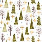 «patrón de bosque de invierno dibujado a mano» de Stacey Oldham