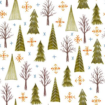 hand drawn winter woodland pattern by swoldham