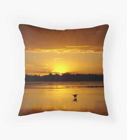Shadowy Golden Pelican Flying Sunset Throw Pillow