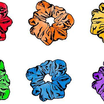 Paquete de 6 notas de Scrunchie Rainbow para el cabello de mynameisliana