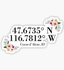 Coeur d'Alene, ID Coordinates Sticker