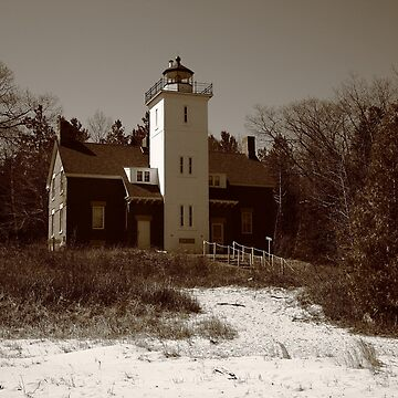 Lighthouse - 40 Mile Point, Michigan in Sepia by Ffooter