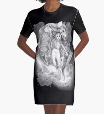 Throw Me To The Wolves (black pen and ink) Graphic T-Shirt Dress