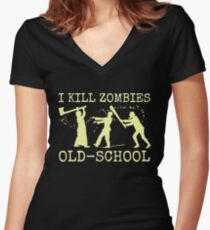 Funny Retro Old School Zombie Killer Hunter Women's Fitted V-Neck T-Shirt