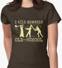 Funny Retro Old School Zombie Killer Hunter Women's Fitted T-Shirt