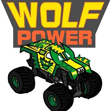 Australian Wolf Power Monster Truck T-Shirt by Chewfactor