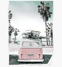 rosa kombi van surfkunst im pastell Poster