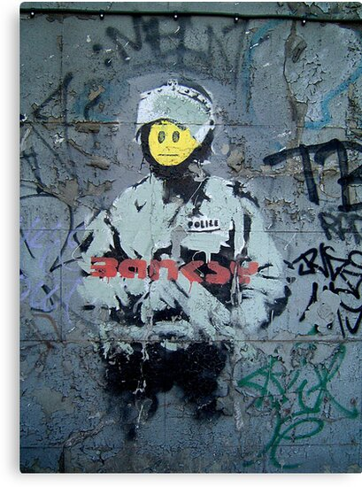 "Banksy ''Smiley Cop"" by Chris Steele"