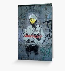 "Banksy ''Smiley Cop"" Greeting Card"