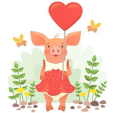 piggy holding heart by OllegNik