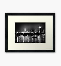 Westminster Palace, A Foggy Winter Night, London, UK Framed Print