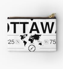 Ottawa Ontario with World Map Coordinates GPS    Studio Pouch