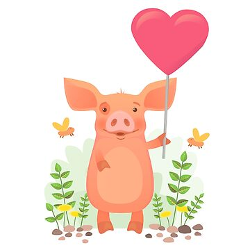 Cute pig holding heart by OllegNik