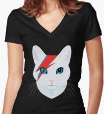 Katze Bowie Tailliertes T-Shirt mit V-Ausschnitt