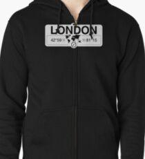 London Ontario with World Map Coordinates GPS    Zipped Hoodie