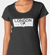 London Ontario with World Map Coordinates GPS    Women's Premium T-Shirt