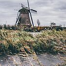 Windmill By The Water in Kinderdijk Netherlands by PatiDesigns