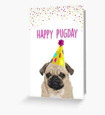 Tarjeta de felicitación ¡Feliz Pugday! Tarjeta de cumpleaños